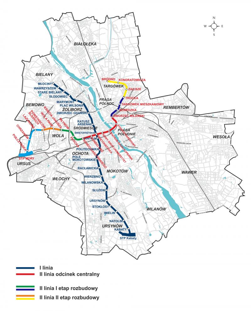 Karta metro v Varshave