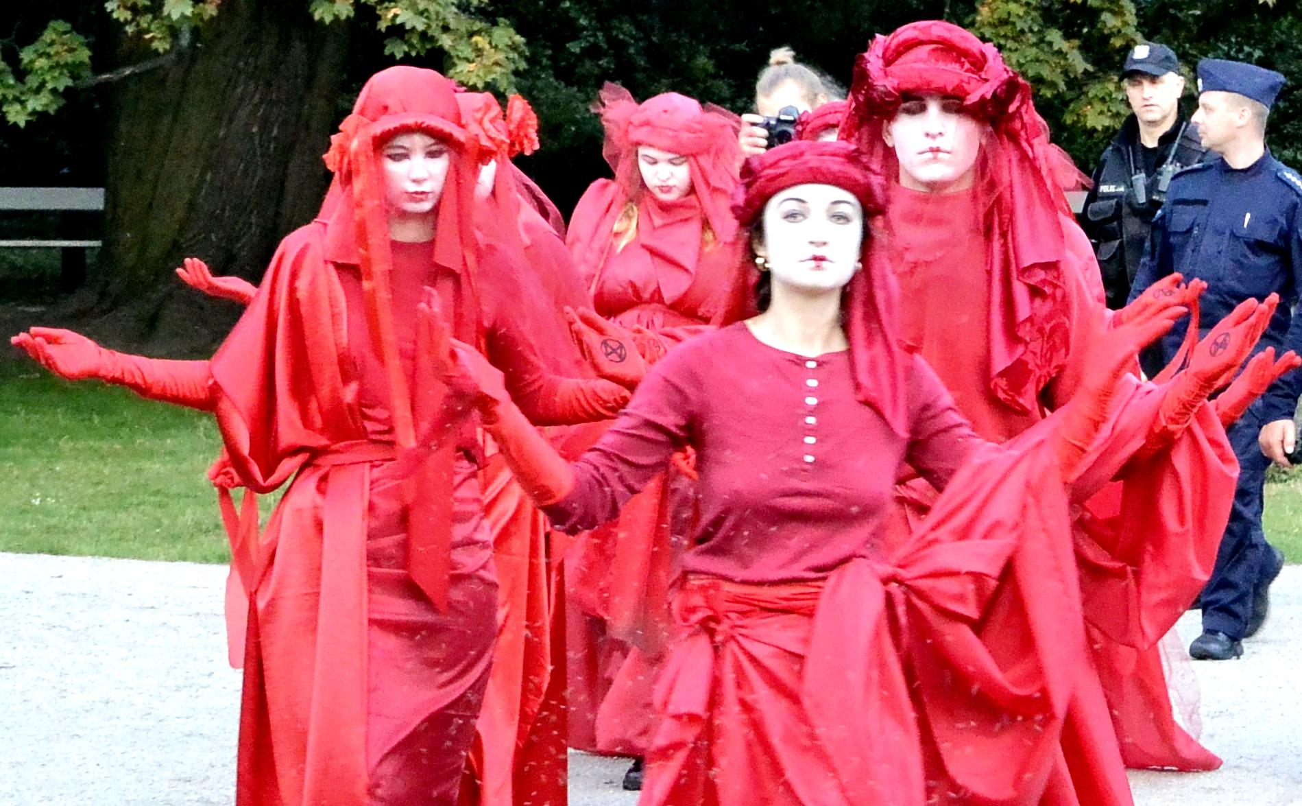 Протест красных вдов в Варшаве