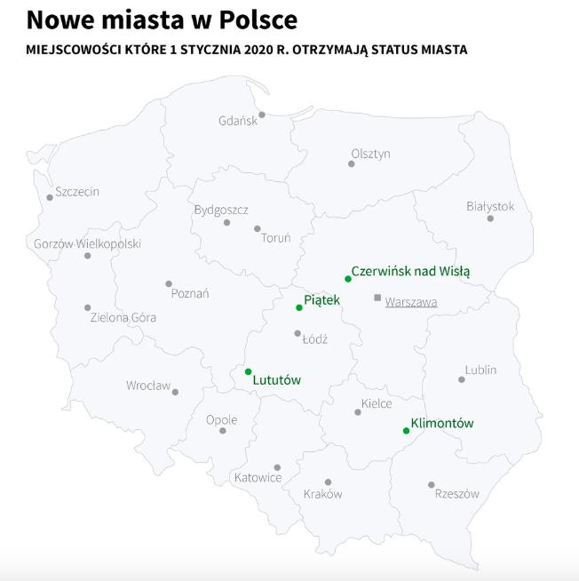 Новые города на карте Польши